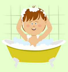 smiling beautiful baby boy bathing in bathtub vector image