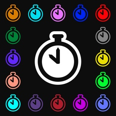 The stopwatch icon sign Lots of colorful symbols vector image vector image