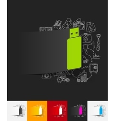 usb paper sticker with hand drawn elements vector image