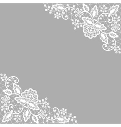 white lace on gray background vector image