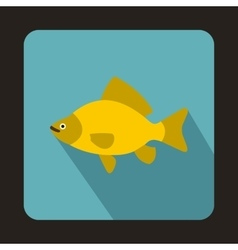 Yellow fish icon in flat style vector image vector image