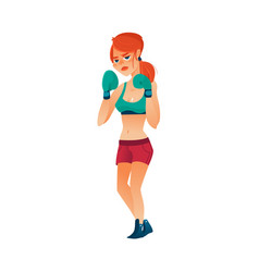 young pretty boxer woman girl in boxing gloves vector image