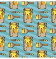 Seamless Pattern Paintbrushes and Tin Cans vector image