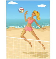 Young woman playing beach volleyball vector image