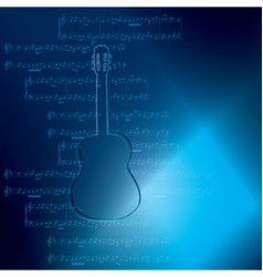 Dark blue background with guitar and music notes vector