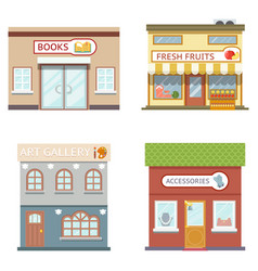 Food shops building set books art fruits vector
