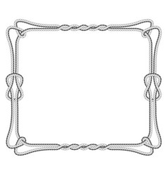 Rope square frame with knots and loops vector