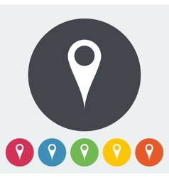 Map pointer single flat icon vector