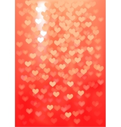 Red festive lights in heart shape background vector