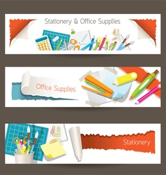 Office and stationery supplies objects banner vector