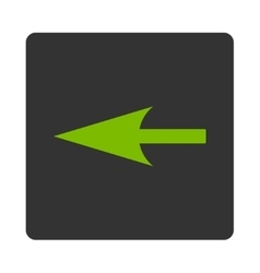Sharp left arrow flat eco green and gray colors vector