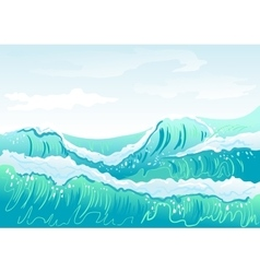 Blue sea wave and sky vector