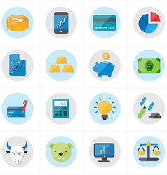 Flat icons for finance icons and business icons vector