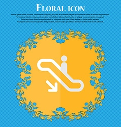 Elevator escalator staircase floral flat design on vector