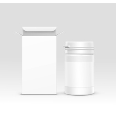 Medical packaging box and bottle vector