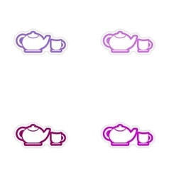 Set of stickers teapot and cup on white background vector