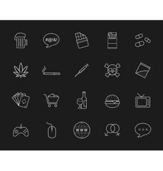 Bad habits chalk linear icons vector