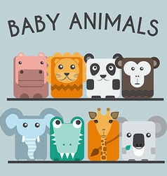 Wild baby animals icons set vector