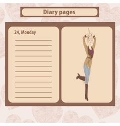 Diary or note pages with vector