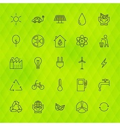 Ecology environment line icons set over polygonal vector