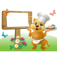 Cat chef sign vector image