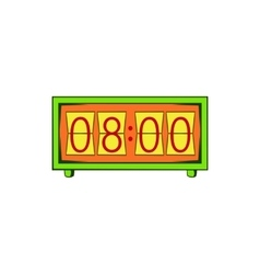 Analog flip clock icon cartoon style vector
