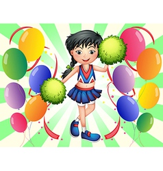 A cheerleader surrounded with balloons vector