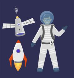 Astronaut space landing spaceship future vector