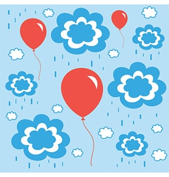 beautiful background with balloons clouds and rain vector image vector image