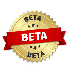 Beta round isolated gold badge vector