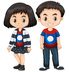 boy and girl wearing shirt with laos flag vector image vector image