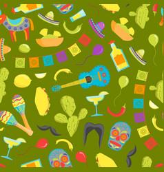 cartoon symbol of mexico seamless pattern vector image vector image