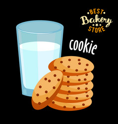 Chocolate chip cookies and glass of hot milk vector