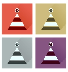 Concept of flat icons with long shadow financial vector
