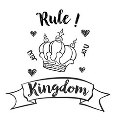 cute crown sketch doodle style vector image vector image