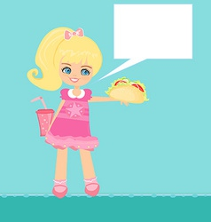 Cute little girl eating sandwich vector