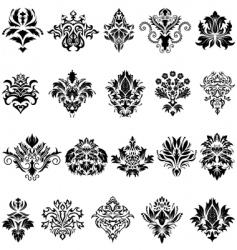 Damask emblem set vector