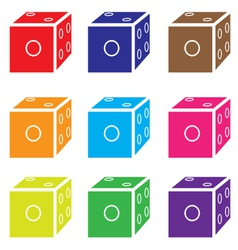 Dice colored set vector