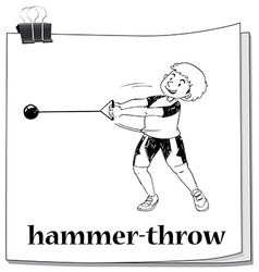 Doodle of people doing hammer-throw vector image vector image