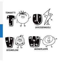 Finnish alphabet tomato lightning watermelon vector
