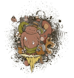 funny monsters with grunge vector image