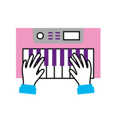 Hands user with synth console vector