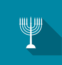 hanukkah candles with long shadow vector image vector image