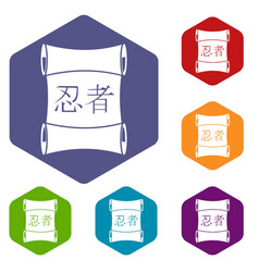 Japanese traditional scrol icons set hexagon vector