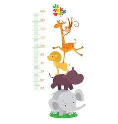 Meter wall or height meter with funny animals vector