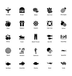 ocean and sea life glyph icons 7 vector image