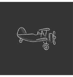 Propeller plane drawn in chalk icon vector