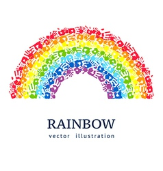Rainbow made from hands abstract background vector