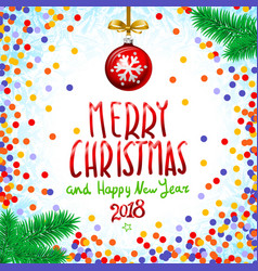 Red merry christmas and happy new year 2018 vector