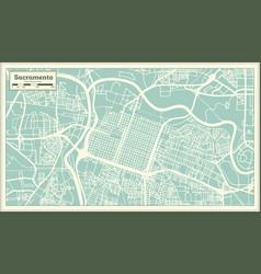 sacramento california usa city map in retro style vector image
